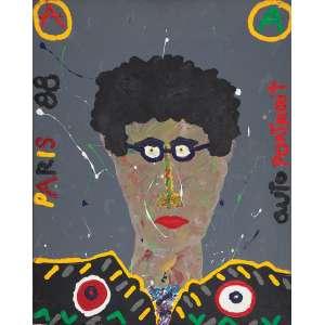 ANGELO DE AQUINO<br>Auto portrait. Liquitex sobre tela, 65 x 81 cm. Assinado, localizado Paris e datado de 88 no verso.