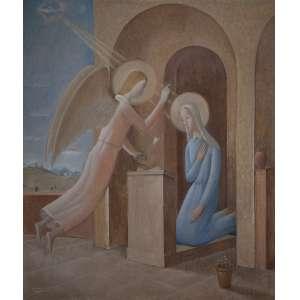"""FÚLVIO PENNACCHI<br>Anunciação. Ost, 205 x 175 cm. Assinado e datado de 938 no cie.<br>Reproduzido em """"Pennacchi 100 anos"""", edição Pinacoteca do Estado de São Paulo, à pág. 44."""