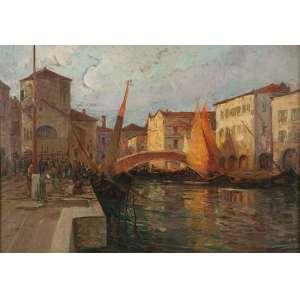 ESCOLA EUROPÉIA (Séc. XIX)<br>Canal com edificação, figuras e barcos. Ost, 85 x 120 cm.