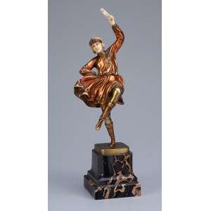 FERDINAND PREISS<br />Russian Dancer. Escultura de bronze patinado e marfim, sobre base de ônix. 31,5 cm de altura. <br />Reproduzida em Art Deco Sculptor, de Alberto Shayo, à pág. 158.