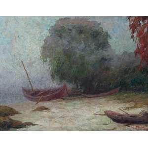 PEDRO BRUNO <br />Nevoeiro em Paquetá. Ost, 50 x 66 cm. Assinado e datado de 1944 no cid.