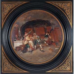 AUTORIA DESCONHECIDA <br />Interior de taberna. Pintura sobre medalhão de porcelana, 56 cm de diâmetro. <br />Esplêndida moldura com incrustações de bronze, 80 x 80 cm com a moldura.