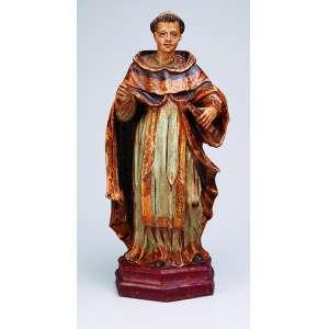 MESTRE PIRANGA <br />Magnífica imagem de Santo Antonio, esculpida em madeira policromada e dourada. Apresenta-se de <br />pé com o livro na mão esquerda. Base chanfrada. 47 cm de altura. Brasil, séc. XVIII.