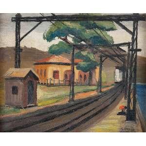 ARNALDO FERRARI <br />Plataforma ferroviária. Os cartão, 22 x 27 cm. Assinado no cid. Década de 40.