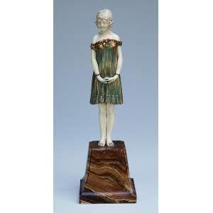 CHIPARUS, Demetre <br />Innocense. Escultura de bronze e marfim sobre base de mármore. Assinada na base. 25 cm de altura. França, c. 1935. Reproduzida em Master of Art Deco, de Alberto Shayo, na pág. 83.