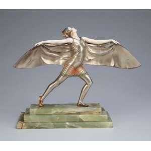 PREISS, Ferdinand <br />Bat dancer. Escultura de bronze patinado e marfim. Base de ônix. 24 cm de altura. Assinada na base. França, c. 1935. Reproduzida em Art Deco Sculptor, de Alberto Shayo, na pág. 177.
