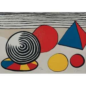 CALDER, Alexander <br />Pirâmide e espirais. Litografia, edição 27/100. 53 x 72 cm. Assinado no cid. Circa. 1970