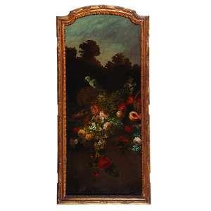 AUTORIA DESCONHECIDA (Séc. XIX) <br />Flores e pássaros. Ost, 130 x 56 cm. Sem assinatura. Com moldura entalhada sugerindo porta de armário.