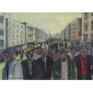 E. SCHOENENBERE (atribuído) <br />Expressionismo - manifesto. Os placa, 43 x 60 cm. Assinado e datado de 63 no cie.