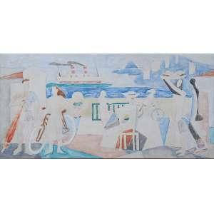 MARIO ZANINI <br />Figuras, mar Ilha Porchat. Aquarela, 25 x 50 cm. Assinado e datado de 1963 no cid. <br />Ex-coleção Jean Carlo Zorlini.