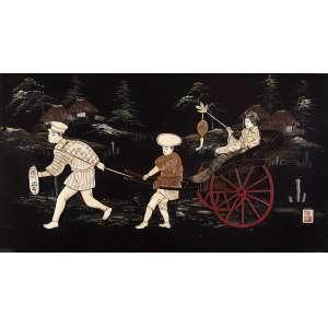 Placa de madeira laqueada de preto com pintura e incrustações de marfim retratando <br />figuras com carruagem. Assinada em ideograma, 33 x 60 cm. Japão, séc. XIX.