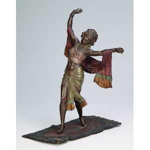 THUSS <br />Odalisca sobre tapete. Escultura de bronze policromado. 26 cm de altura. Assinado na base. <br />Áustria - Viena, séc. XIX.
