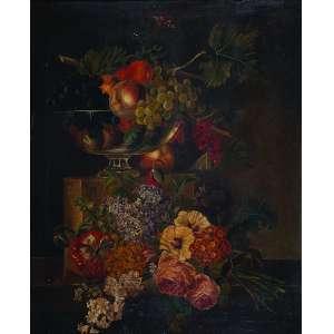 PIERRE JOSEPH REDOUTÉ (atribuído) <br />Flores e frutos. Ost, 74 x 60 cm. (necessita restauro).