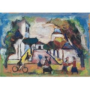 MARIO ZANINI <br />Detalhe de rua. Os papel colado em madeira, 33 x 46 cm. Assinado e datado de 1965 no cie.