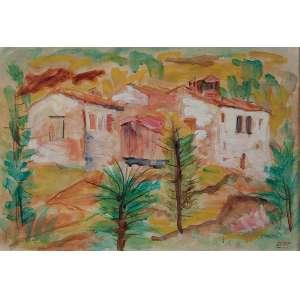 MARIO ZANINI <br />Casas da Toscana. Aquarela sobre papel colado em duratex. 37 x 54 cm. <br />Assinado no cid. Ex-coleção Jean Carlo Zorlini.