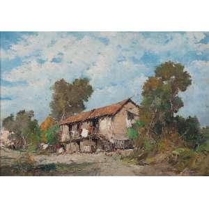 CASCIARO, Giuseppe (1863-1943) (atribuído) <br />Paisagem com casario. Osm, 50 x 71 cm. Assinado no cid.
