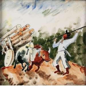 MARIO ZANINI <br />Osirarte. Azulejo. Carro de boi, 15 x 15 cm. Assinado no cid.