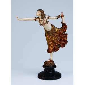 COLINET, Claire <br />Egyptian Dancer. Escultura de bronze e marfim, sobre base de mármore. 29 cm de altura. <br />Assinado no bronze. França, c. 1935. <br />Reproduzida em Art Deco and other Figures, de Bryan Catley, pág. 116.