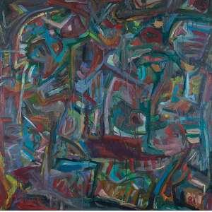 JORGE GUINLE <br />Vida. Ost, 100 x 100 cm. Assinado no cie e datado de 81 no cid. <br />Com autenticação de Marco Aurélio Cardoso Rodrigues. Ex-coleção de Anecyr Rocha.