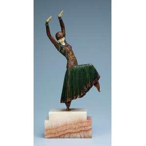 CHIPARUS, Demetre <br />Vested Dancer. Escultura de bronze patinado e marfim, sobre base de ônix. 33,5 cm de altura. <br />França, c. 1935. Reproduzido em Master of Art Deco, de Alberto Shayo, pág. 111.
