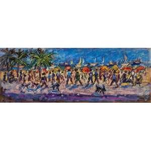 SÉRGIO TELLES <br />Copacabana. Ost, 30 x 80 cm. Assinado, localizado Copacabana e datado de 92 no cie.