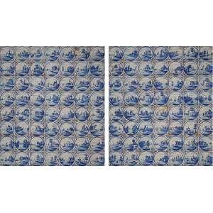 Pendant de painéis de azulejos Delf. Paisagem com marinha e edificações, <br />com 56 azulejos e medida total de 105 x 81 cm cada.