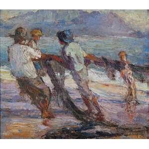LUCÍLIO DE ALBUQUERQUE <br />Pescadores puxando a rede. Os placa, 32 x 36,5 cm. Assinado no cid.