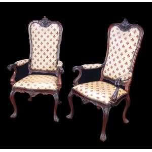 Par de tronos de jacarandá, estilo D. José I, espaldar circundado por concha, braços e pernas em volutas. <br />Saia recortada. Assento e encosto estofados e revestidos de tecido. 130 cm de altura, <br />o espaldar. Brasil, séc. XIX.