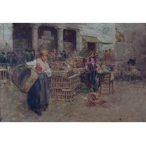 PISANI, Gustavo (1887-?) - (atribuído) <br />Feira. Ost, 55 x 80 cm. Assinado no cid.