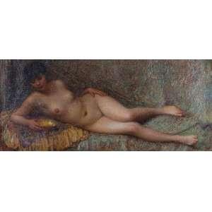 SZOLDATICS GIORGIO (atribuído) <br />Fanciulla Romana, Ost, 78 x 175 cm. <br />No verso etiqueta da Associazione Nazionale Degli Artisti (Florence).