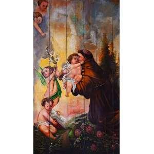 Retábulo de madeira com pintura retratando Santo Antônio com cinco anjos. <br />240 x 140 cm. Brasil, séc. XIX.