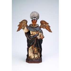 São Vicente Ferrer<br />Imagem de madeira policromada com vestígios de douração. 27 cm de altura. <br />Acompanha resplendor de prata. Brasil, séc. XVIII.