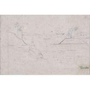 TARSILA DO AMARAL <br />Paisagem com mar e barcos. Desenho a lápis, 18 x 28 cm. Assinado no cid. <br />No verso selo da Galeria Paulo Figueiredo.