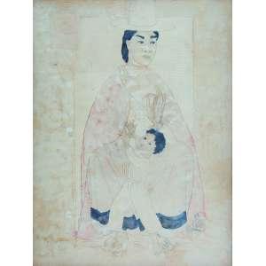 BERNARD BOUTS <br />Madona andina. Técnica mista, 62 x 47 cm. Assinado e com carimbo no cse.