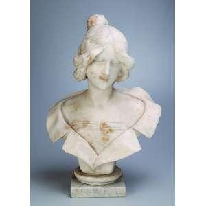 Busto de dama. Escultura de mármore. 57 cm de altura. <br />Itália, séc. XIX. (pequenos lascados).