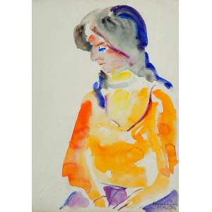 EMERIC MARCIER <br />Jovem de amarelo. Guache sobre papel, 35,5 x 25 cm. Assinado, localizado London e datado de 1872 no cid.