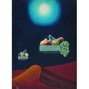 WALTER LEWY <br />Surreal com frutas. Ost, 81 x 60 cm. Assinado e datado de 1983 no cie.