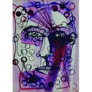 MAREPE (Marcos Reis Peixoto) <br />Rosto. Aquarela, 33 x 24 cm. Datado de 2009.