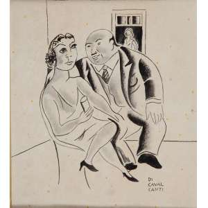 DI CAVALCANTI<br />Cortejo. Desenho à nanquim sobre papel, 26 x 23 cm. Assinado no cid. No verso carimbo da Galeria Jorge Rio de Janeiro.