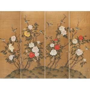 Painel constituído por quatro módulos que se completam, retratando pinturas de crisântemos e <br />pássaros sobre seda. 160 x 54,5 cm cada módulo. China, séc. XIX.