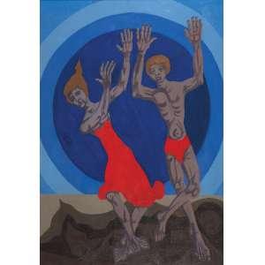 CLÓVIS GRACIANO<br />Duas figuras. Ost, 92 x 65 cm. Assinado e datado de 79 no cid.