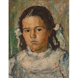 ALBERTO DA VEIGA GUIGNARD<br />Retrato de menina. Osm, 40,5 x 32 cm. Assinado e datado de 1938 no cid.
