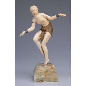 CHIPARUS, Demetre<br />Delhi Dancer. Escultura de bronze e marfim sobre base de ônix. 26 cm de altura. Assinada na base. <br />França, c. 1935. Reproduzida em Master of Art Deco, de Albeto Shayo, à pág. 105.