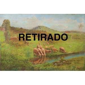 JOÃO BAPTISTA DA COSTA<br />Paisagem com ovelhas. Ost, 55 x 81 cm. Assinado no cie.