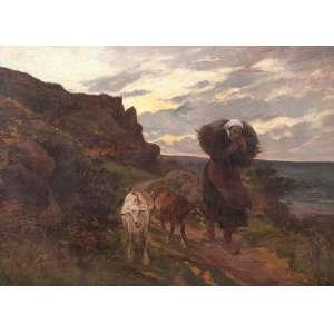 SOUZA PINTO<br />Paisagem com camponesa e cabras. Ost, 74 x 100 cm. Assinado e datado de 1907.