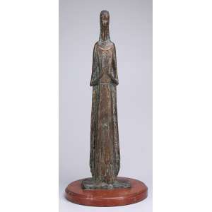 GALILEO EMENDABILI<br />Figura feminina. Escultura de bronze patinado, sobre base de madeira. 63 cm de altura. <br />Assinada no bronze e datada de 50.