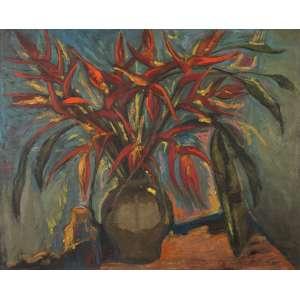 NIVOLIÉS DE PIERREFORT<br />Vaso com strelitzia. Ost, 81 x 100 cm. Assinado no cid.