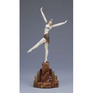 CHIPARUS, Demetre<br />Dancer of Palmyra. Escultura de bronze e marfim sobre base de ônix e mármore. 32 cm de altura. Assinada na base. França, c. 1935. Reproduzida em Master of Art Deco, de Alberto Shayo, na pág. 107.