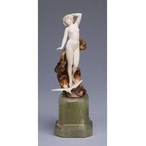 PREISS, Ferdinand<br />The Wave. Escultura de bronze e marfim, sobre base de ônix. 22,5 cm de altura. Assinada no bronze. França, c. 1935. Reproduzida em Art Deco Sculptor, de Alberto Shayo, à pág. 103.