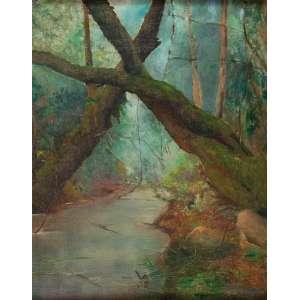 ANTÔNIO PARREIRAS<br />Floresta com rio. Ost, 40 x 32 cm. Assinado e dat. de 1900 no cie.<br />No verso carimbo da Galeria Jorge - Rio de Janeiro.